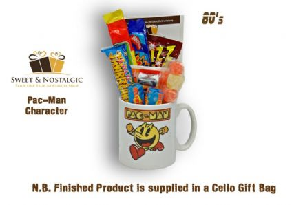 Pac-Man Character Mug with/without an arcade selection of 80's retro sweets